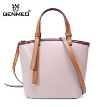GENMEO New Arrival Genuine Leather Fashion Bucket Handbag Women Cow Leather Shoulder Bag Female Cowhide Tote Bags Feminina Bolsa