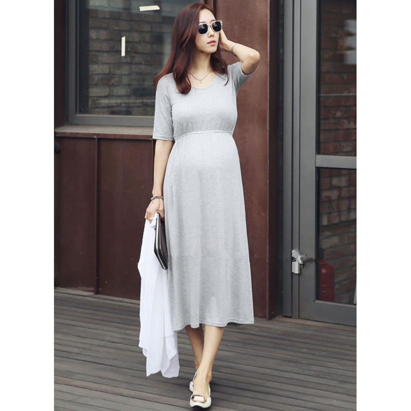 Modal Maternity Dresses For Pregnant Women Clothes Short Sleeve Pregnancy Dresses Gravidas Vestidos Maternity Clothing Summer
