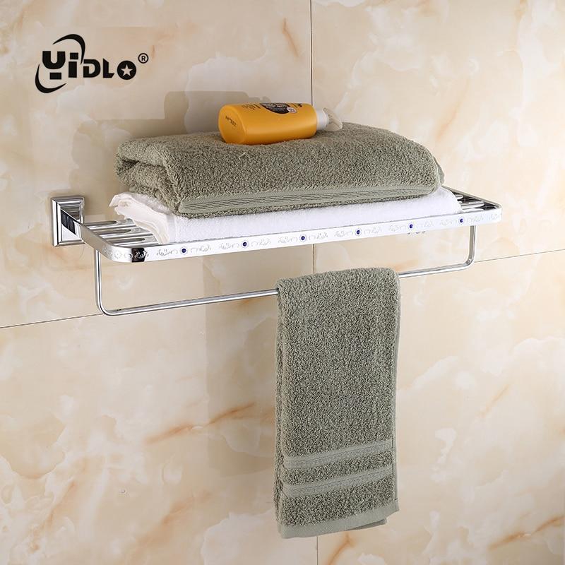 Faible expédition salle de bain serviette Double étagère en argent Multi pôle solide et suspendu Rack encastré mur salle de bains salle de bain porte-serviettes