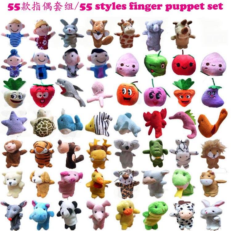 55pcs lot ON SALE a Set of 55 Styles Finger Puppets Animals Marine Animals Dolls Friut