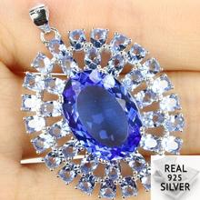 Guaranteed Real 925 Solid Sterling Silver 6.7g Big Top Long Big Gems Rich Blue Violet Tanzanite Pendant 39x28mm