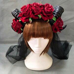 Image 5 - اليدوية الأغنام القرن الأحمر روز فراشة عقال Hairband ملحق Demon الشر القوطية لوليتا تأثيري هالوين أغطية الرأس الدعامة