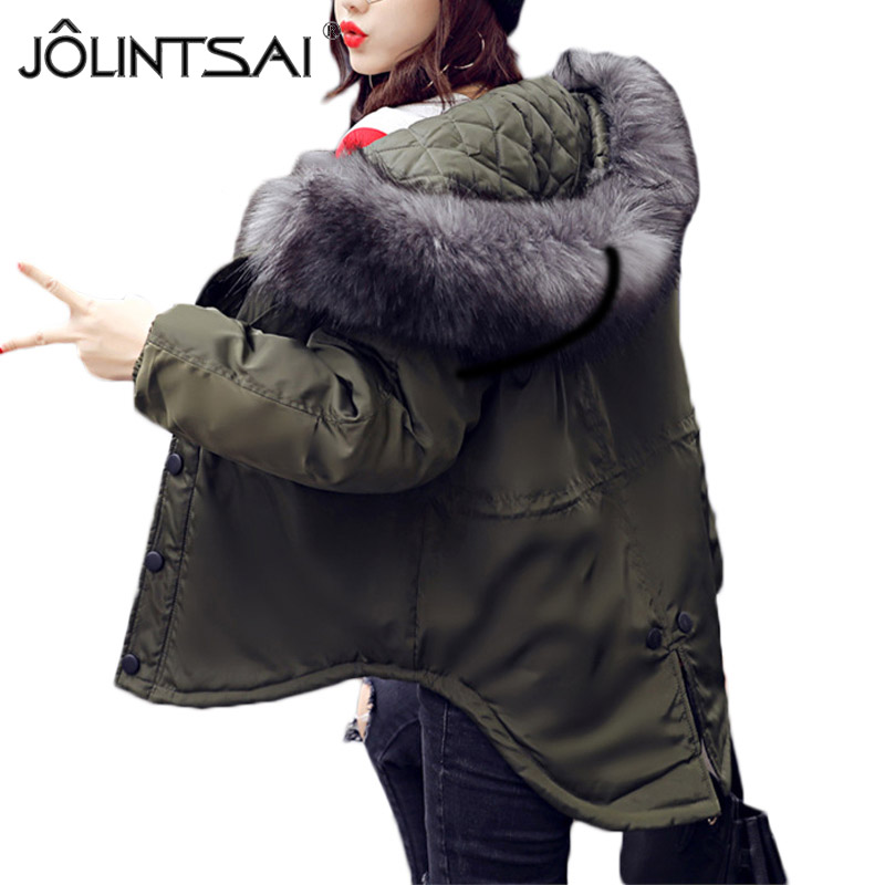 JOLINTSAI Women Parkas 2017 Autumn Winter New Jacket Women Big Faux Fur Collar Hooded Female Warm Coat Outerwear MR0239 faux rabbit fur brown mr short jacket sleeveless with big raccoon collar fall coat