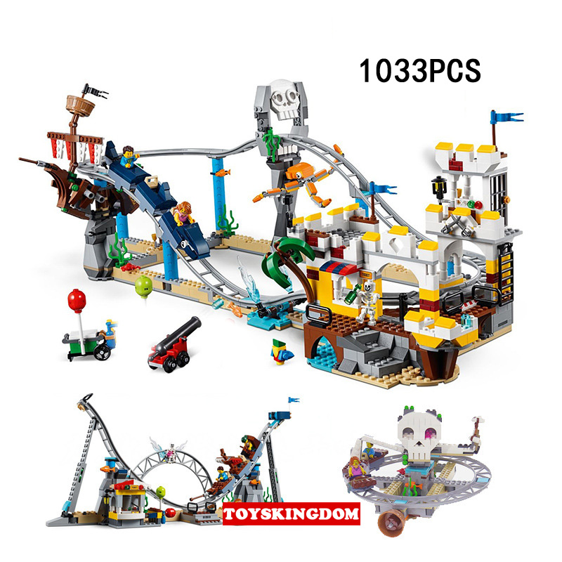 купить Hot creator pirate roller coaster 3in1 building block figures assemable bricks educational toys for children gifts по цене 4591.19 рублей