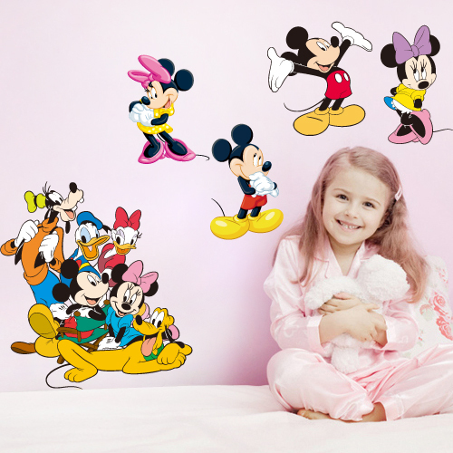 Hot Mickey Minnie Mouse Donald Duck Love Couple Wall Stickers For