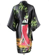 Plus Size XXXL Sexy Black Chinese Women Silk Robe National Trend Nightgown Short Sleepwear Kimono Bath Gown Mujer Pijamas SR017