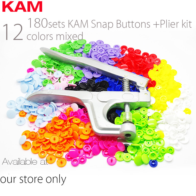 10 Colors Mixed 200 Sets KAM T5 20 12mm Plastic Snap Buttons &Snap Pliers For Fastener Used For Diaper DIY Kit Mixing