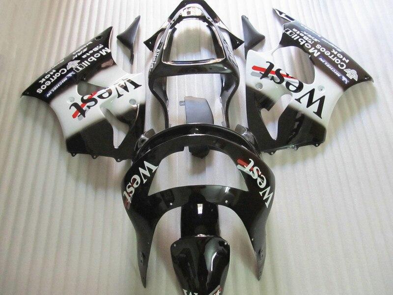 New hot parti del corpo kit carena per Kawasaki Ninja ZX6R 98 99 west sticker nero carenature set ZX6R 1998 1999 OT15