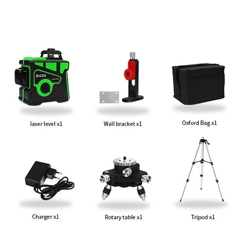 Лазерный уровень 12 линий 3D самонивелирующийся 360 горизонтальный и вертикальный крест супер мощный зеленый лазерный луч линии - Цвет: Set 8
