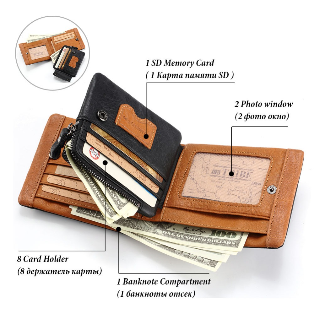 Image 2 - GZCZ 2018 Genuine leather Men Wallet Clamp For Money Card Holder Male Purse Drop Shopping Free engraving PORTFOLIO MAN Money Bagleather mens walletgenuine leather men walletman money bag -