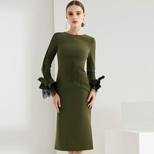 Multiflora Autumn 2018 new slim dress color long sleeves bowknot lace sheath bodycon elegant все цены