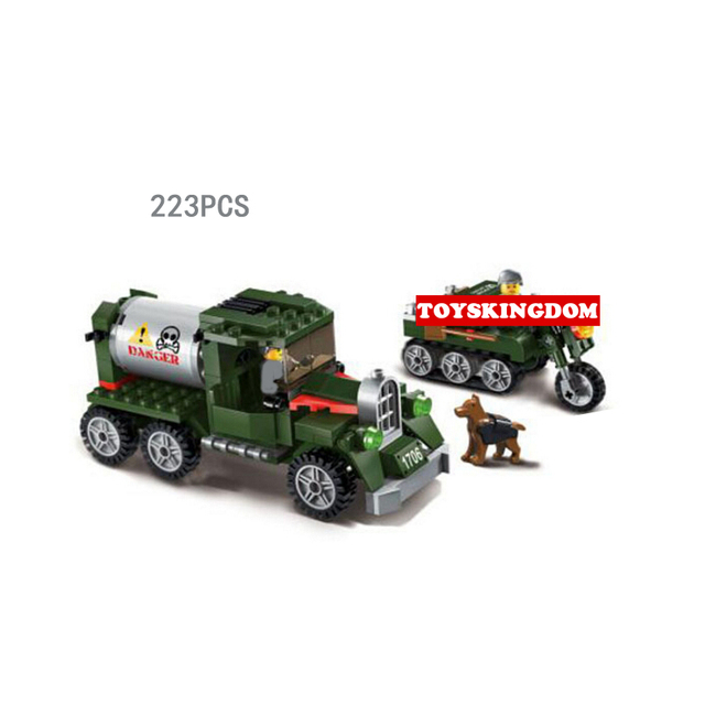 Hot ww2 Intercept transport team building block dog army figures crawler motorcycle Tanker truck bricks toys for kids gifts