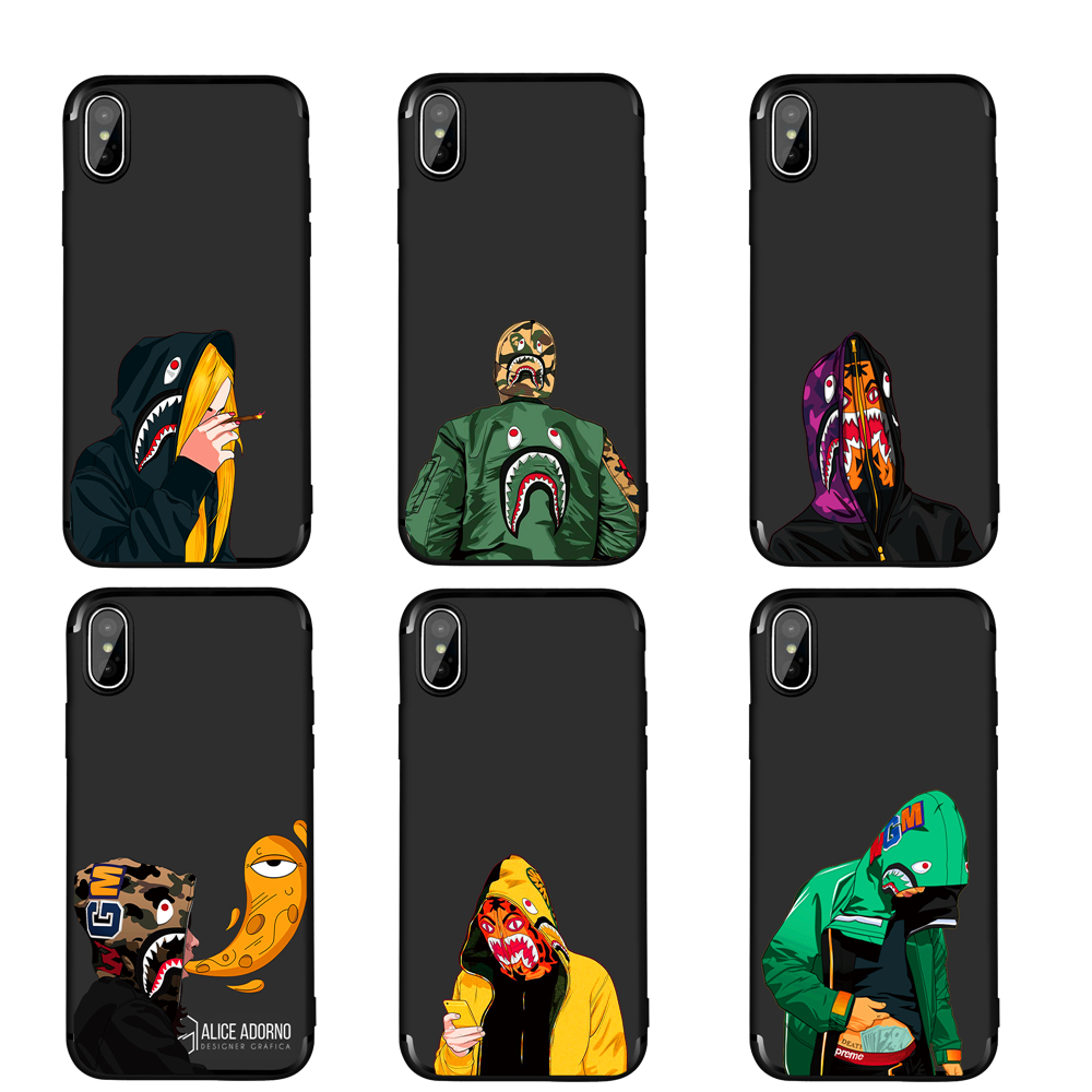 Fashion trend Black Silicone Cover For Apple iphone X 10 Japan Bape Shark Soft Phone cases For iphone 7 8 Plus 5 5S SE 6 6S ...