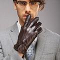 Новое Прибытие 2017 Мужчины Оригинальные Кожаные Перчатки Тепло Зимой Козьей Перчатки Моды Запястье Утолщаются Griving Твердые Настоящее M014WC