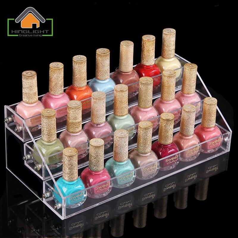 Nail Polish Layers: 3 Layers Acrylic Nail Polish Display Stand Shelf Rack