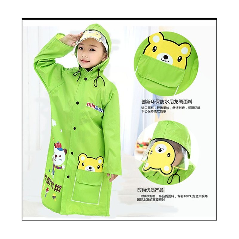 Free Shipping Wide hat cartoon young girl children raincoat cuhk student environmental protection non-toxic poncho frosted thickened disposable raincoat poncho with transparent portable travel buckle hat