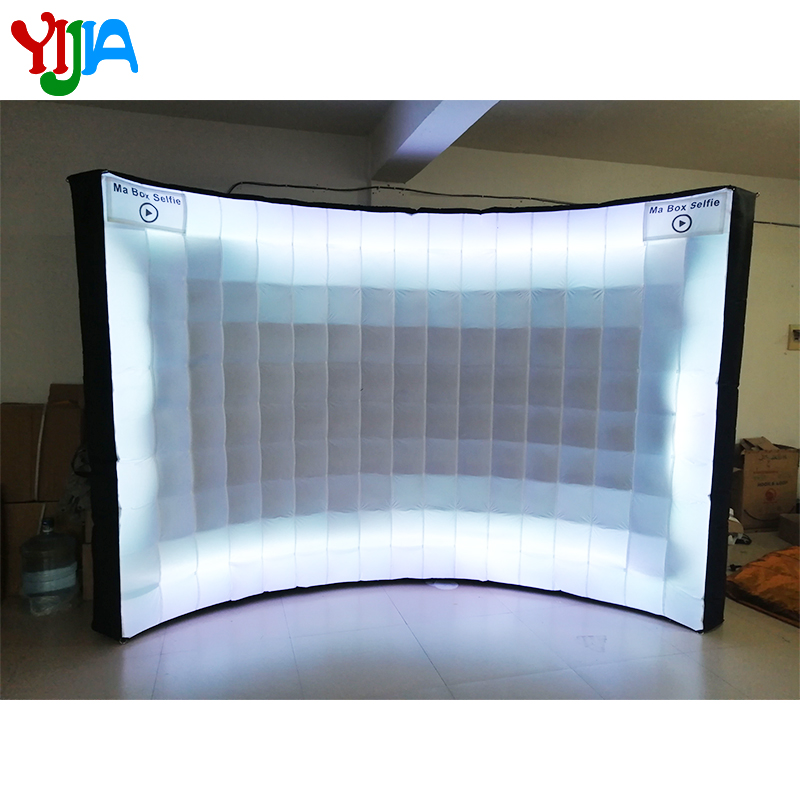 3m  Brightly LED Wall with Strips All Around Inflatable Photo Backdrop Stand Inner Air Blower for Weddings Party