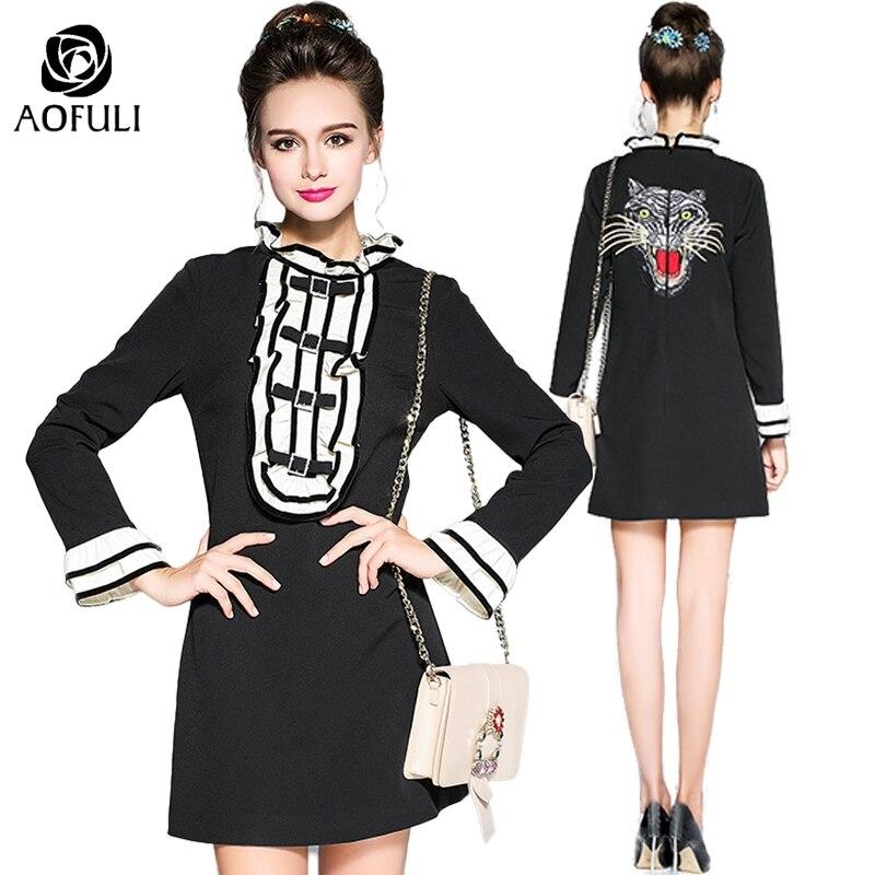 S 5XL Women Vintage Ruffles Dress Autumn Winter Fashion Plus Size Tiger Embroidery Flare Sleeve Dress