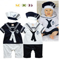 Boys Navy short-sleeved coveralls pine hat Romper climbing clothes infant College Wind Jumpsuit Infants young children 0-2y