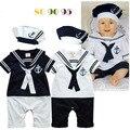 Muchachos azul marino corta overoles de manga pino sombrero mameluco ropa escalada infantil del viento colegio Jumpsuit los bebés los niños pequeños 0-2y