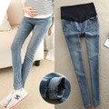 Caliente venta! Blue Washed Denim Jeans para mujeres embarazadas elásticos pantalones del vientre de embarazo más el embarazo la ropa M-XXL