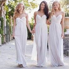 modernos vestidos de novia de gasa vestidos de dama de honor banquete de boda blanco sin espalda con pliegues vestido de dama de honor vestido fq