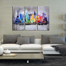 100% Hand-painted Modern Abstract Citysacpe Artwork color City 3 panels Oil Paintings on Canvas Wall Art for Home Decorations