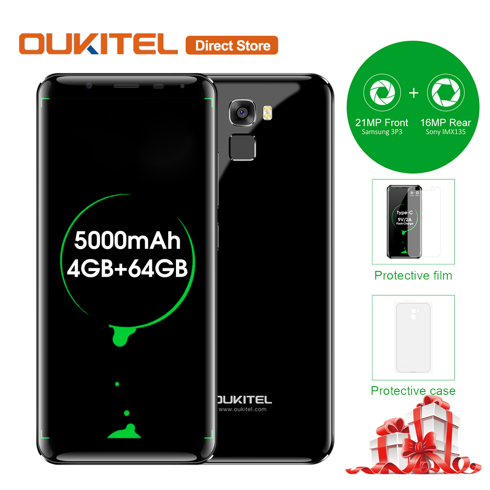OUKITEL K5000 4G Smartphone 5.7'' 18:9 Bezel-less 4GB RAM 64GB ROM Android 7.0 MTK6750T Octacore 21MP+16MP 5000mAh Mobile Phone