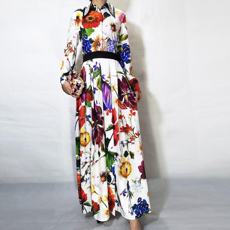 Haute Designer Piste Robe 2019 New Manches Qualité Casual Perles Multi Élégant Femmes De Fashion Fleur À Imprimer Longues Maxi rxnCIrq