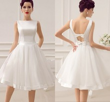 Elegant Short Wedding Dress Vintage Bridal 1950 s Bateau Sleeveless Satin Bow Back Dresses Reception Gown