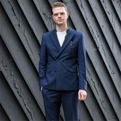 2018 Темно-синие Вечеринка Для мужчин костюмы двубортный индивидуальный заказ свадебные смокинг для жениха Terno Masculino (куртка + брюки + галстук)
