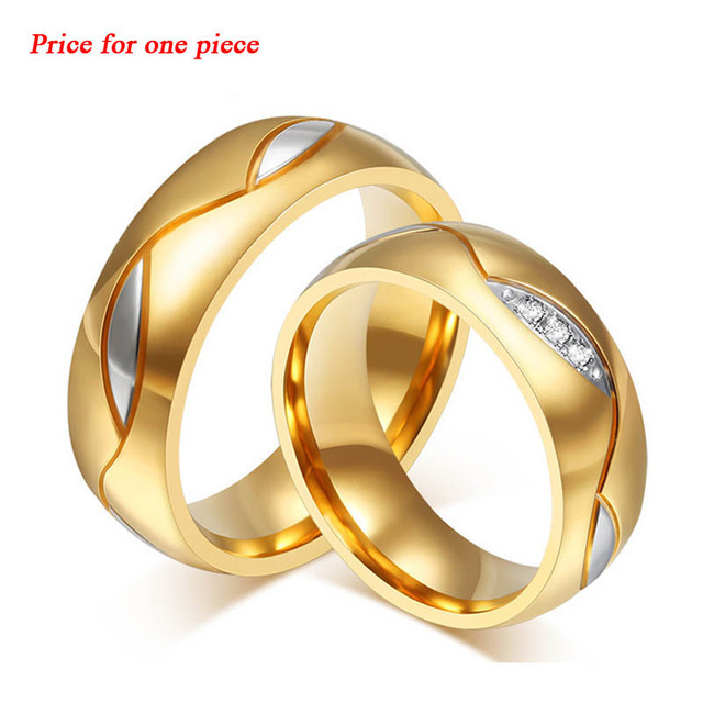 High quality Stainless Steel couple ring 18K Gold Plated Engagement Wedding Rings for women and men ring fine Jewelry gifts LR23