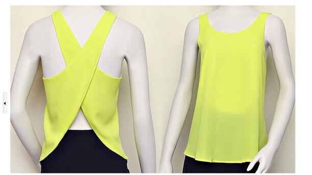 10 шт./партия,, летние женские повседневные рубашки из конфетного цвета, без рукавов, сексуальный однотонный топ с открытой спиной, шифоновый однотонный жилет