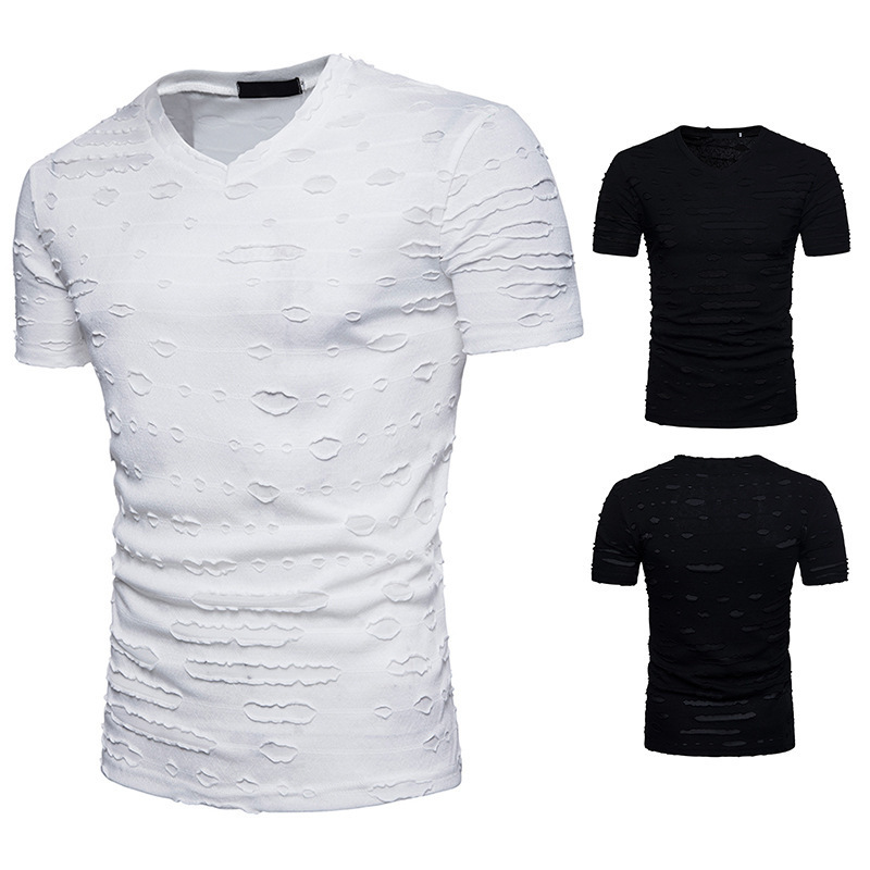 2018 Summer New Men's T-shirt V-Neck Solid Color Casual Short Sleeve fashion tshirts clothing brand male tee