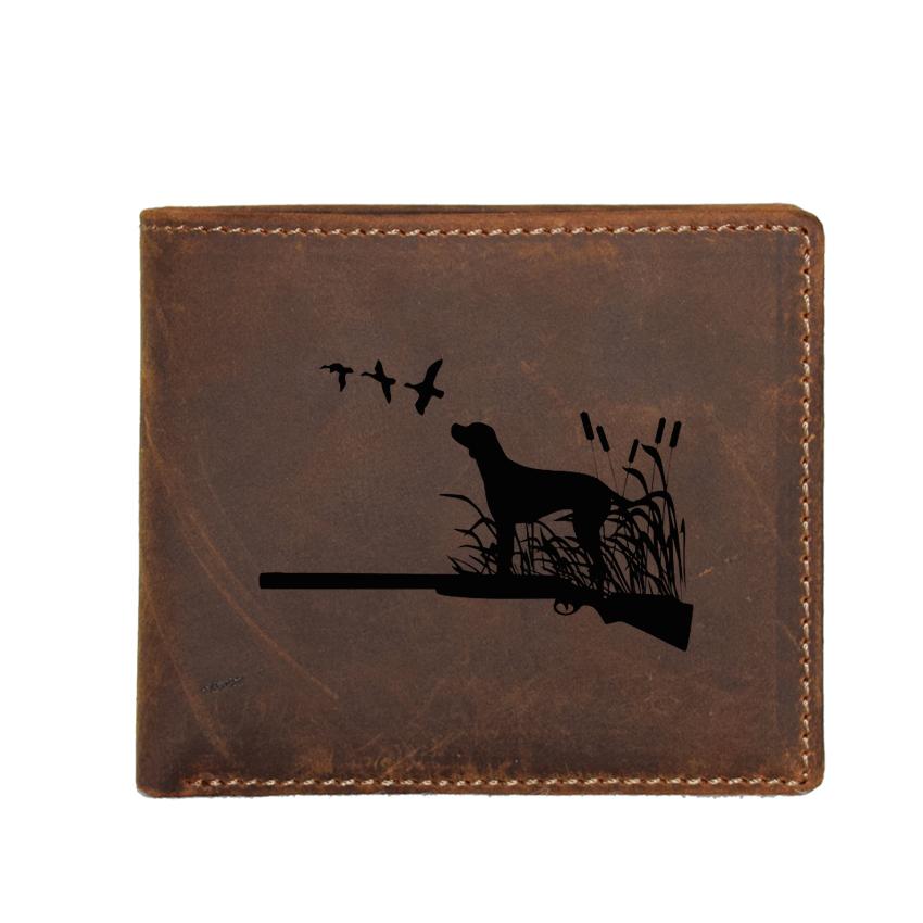 Hunting Dog Engraved Picture Men Wallet with Coin Pocket Genuine Leather Purse Male Small Card Holders Name Short Wallet image