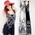 Women bohemian dress beach dress spring and summer vacation print V-neck vest dress fashion backless long dress free shipping