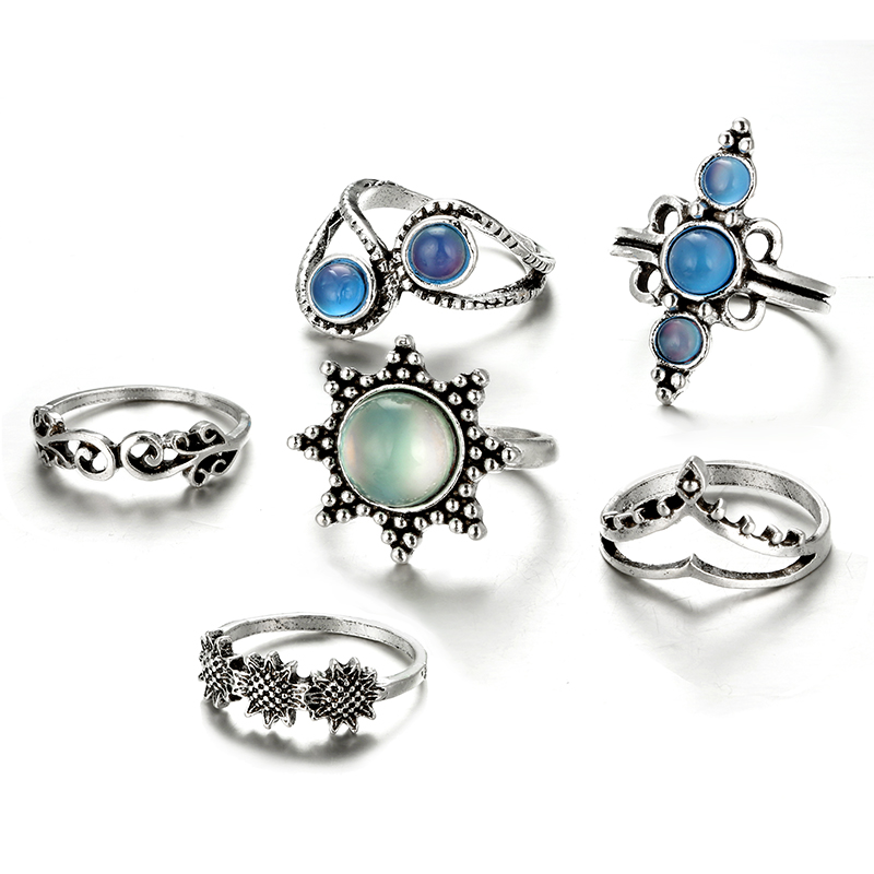 HuaTang Bohemian Antique Silver Ring Geometric Elephant Flower Green Rhinestone Knuckle Rings Midi Finger Anel Rings Jewelry 80
