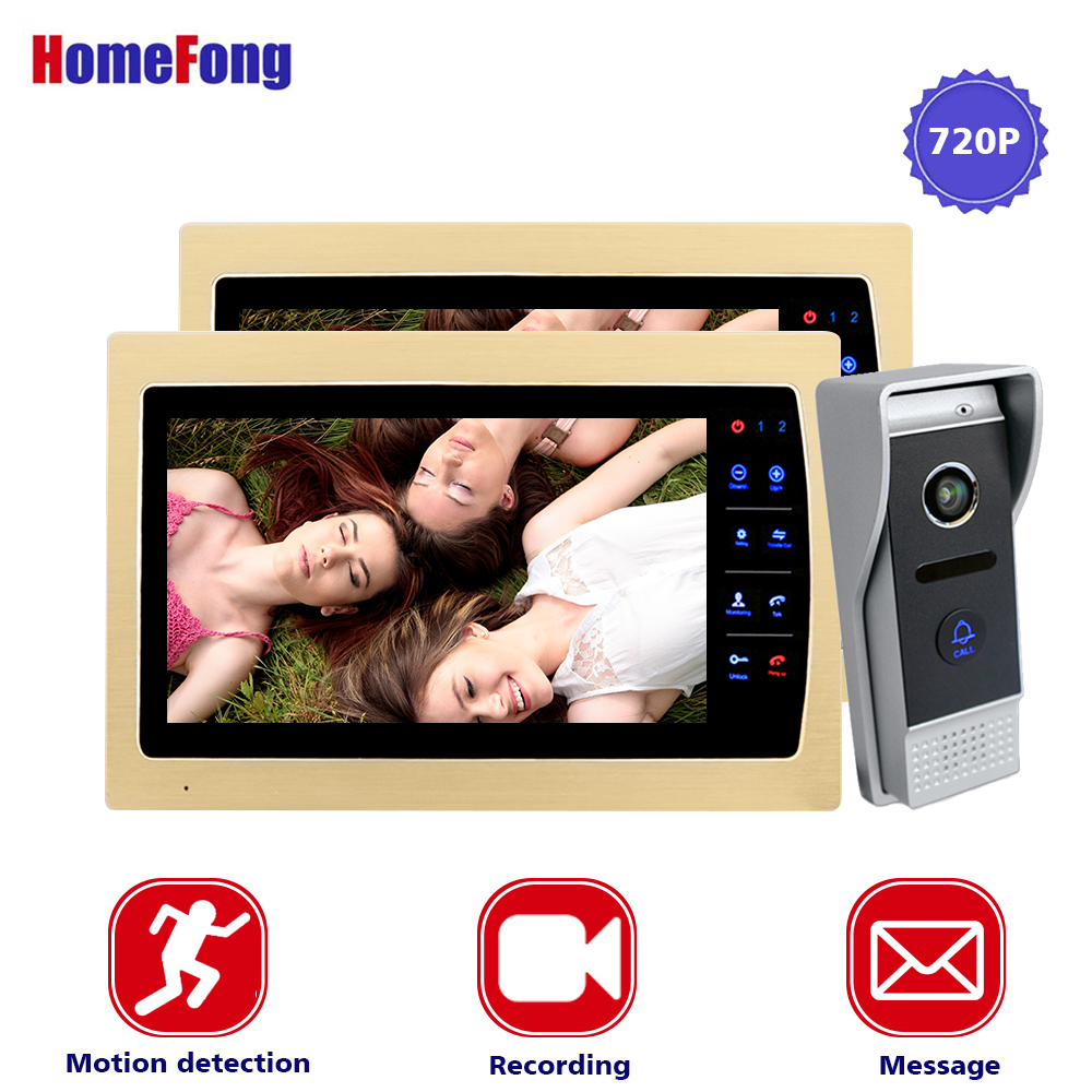 Homefong 10 Inch Golden Video Intercom AHD Video Door Phone 2 Monitors with recording Function 720P 1 Outdoor Panel Motion Alarm homefong 10 inch wired video door phone intercom system 720p ahd high resolution doorbell camera 4 monitors 1 call panel record