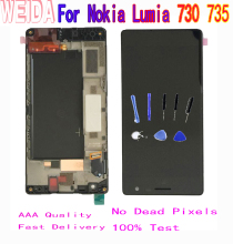 WEIDA 4.7'' For Nokia Lumia 730 LCD Display Touch Screen Digitizer Assembly Frame RM-1038 RM-1039 RM-1040 735 LCD стоимость