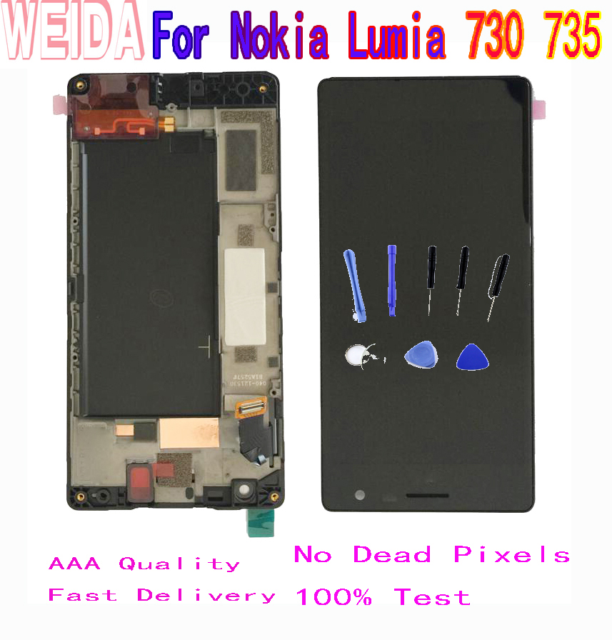 WEIDA 4.7'' For <font><b>Nokia</b></font> Lumia 730 LCD Display Touch Screen Digitizer Assembly Frame RM-1038 RM-1039 RM-<font><b>1040</b></font> 735 LCD image