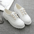Oxford women's shoe Pearl metal decoration ladies shoe fashion round toe woman Comfortable casual platform women flats oxford