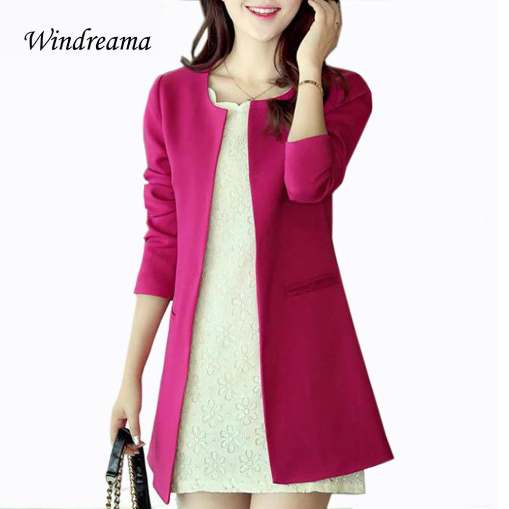 Windreama New Women Long Blazer Jackets Solid Casual Plus Size Coat Blazer Feminino Jaqu ...