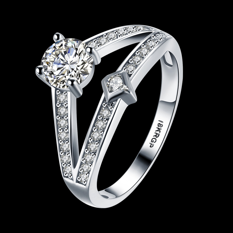 cz wedding classic engagement rings rhinestones for
