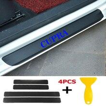 4pcs/set Car Door Window Protector Sticker Carbon Fiber Vinyl for CUPRA