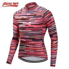 2019 FUALRNY Red stripe Long sleeve Ropa Ciclismo Cycling Jersey 100% Polyester/Autumn Mountian Bicycle Clothing Clothes For Man