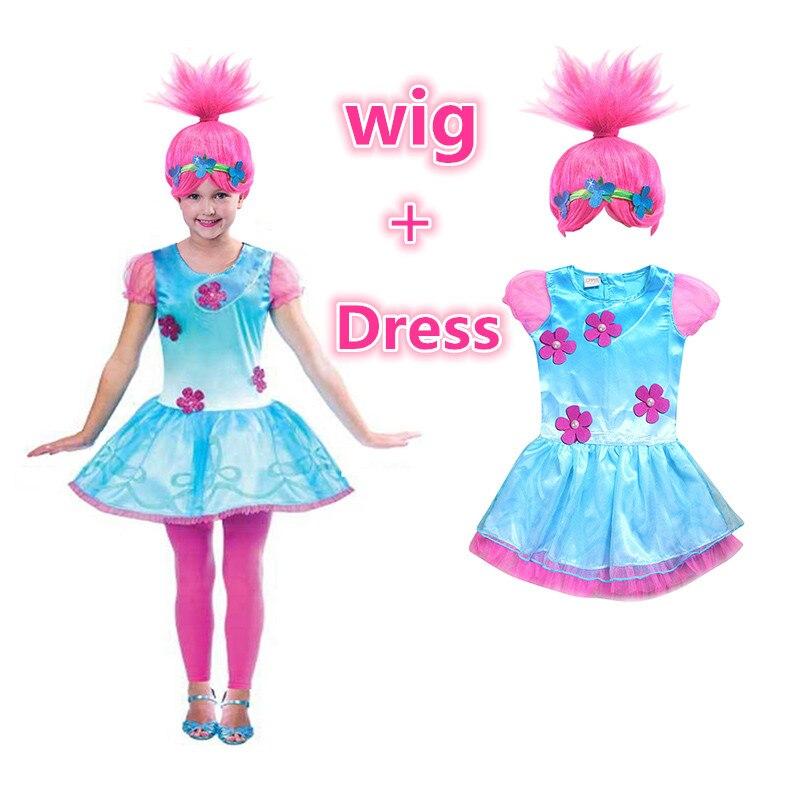 Trolls Poppy Cosplay Costumes Dress For Girls Bobo Choses Streetwear Halloween Clothes Kids vestido infantil Wig & Girls Dresses