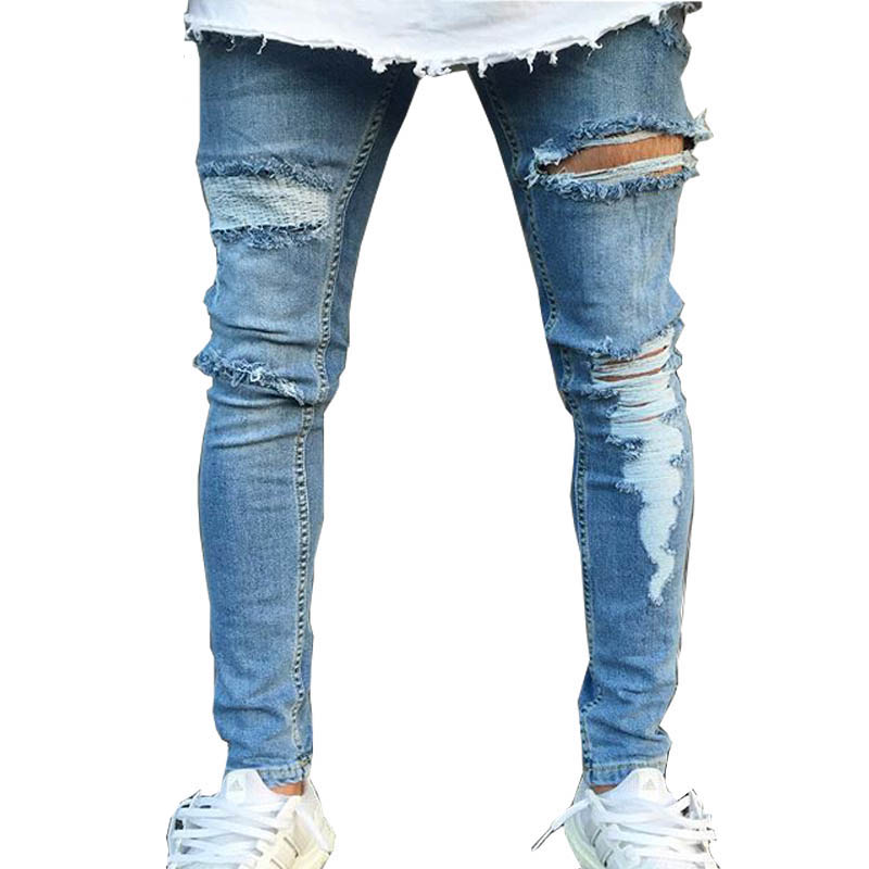 2018 Street Distressed   Jeans   Men Destroyed Knee Design Cotton   Jeans   Homme Casual Hip Hop ripped   jeans   men Skinny   Jeans   Pants 3XL