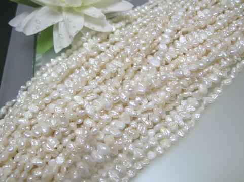 free shipping ZCD+++2 loose strands vintage freshwater biwa pearl white side drilled flat oval 3-4mm