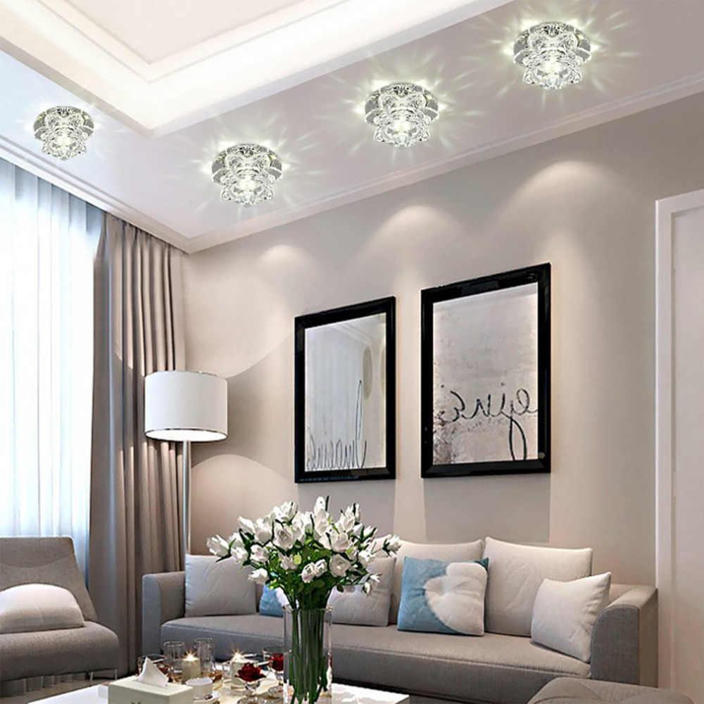 Corridor Mirror Ceiling Lamp Aisle Light Veranda Lighting 6 LED 3W Down Crystal Modern Surface Mounted Lights For Living Room