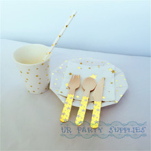 120 Sets Sweet Salad Tableware Gold Star Party Paper Plates Cups Straws Napkins Wooden Utensils for Wedding New Year Decoration
